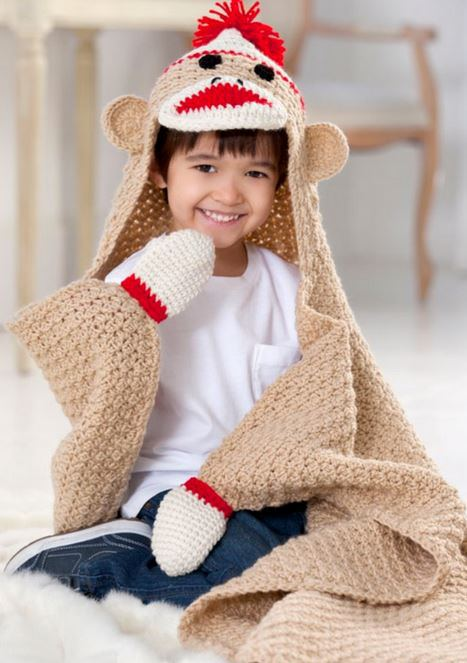 Crochet-  Sock-Monkey-Blanket