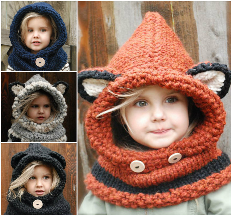 Crochet and Knitted Cowls Wonderful DIY  Cute Knitted Hooded Cowls