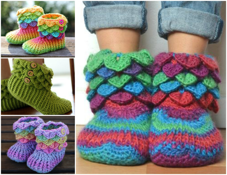 The Cutest Crochet Crocodile Stitch Booties Tutorial Patterns