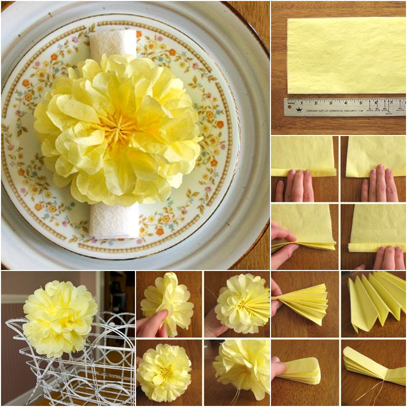 DIY Beautiful Tissue Paper pom pom Flower Wonderful DIY  Tissue Paper Pom Pom Flower Decoration