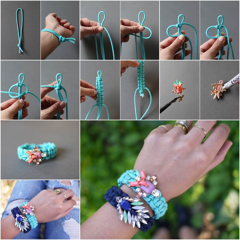 DIY Jeweled Embellished Paracord Bracelet Wonderful DIY Jeweled Embellished  Macrame Bracelet