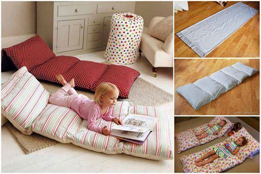 Easy roll up pillow bed Wonderful DIY Pillow Mattress For Kids