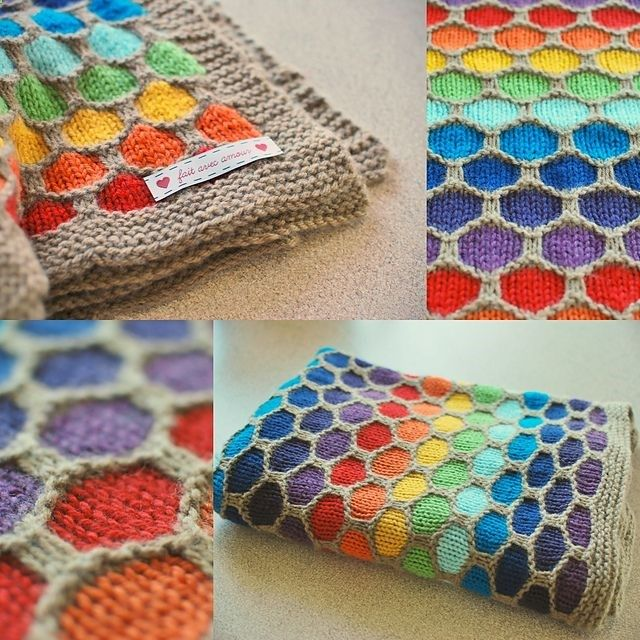Honeycomb Rainbow Blanket free pattern wonderfuldiy Wonderful DIY Crochet Baby Blanket and Hat Set