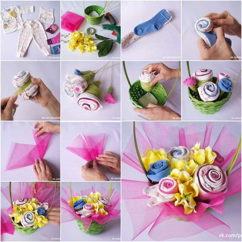 Recycle Old Baby Clothes Into a Flower Bouquet
