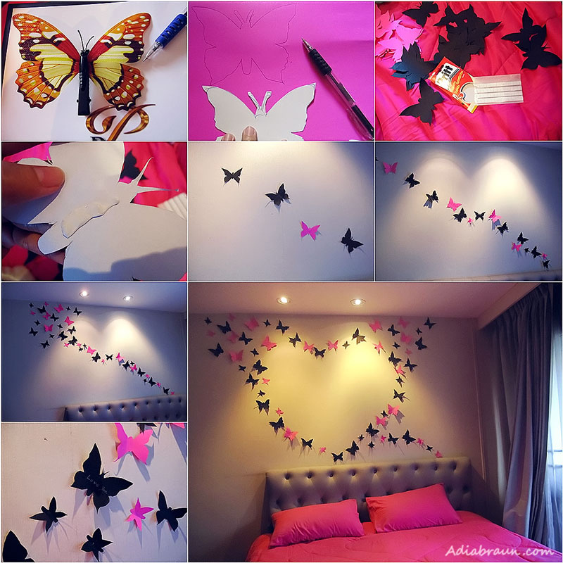 VIEW IN GALLERY How To DIY Butterfly Wall Decoration Bright And Beautiful Art