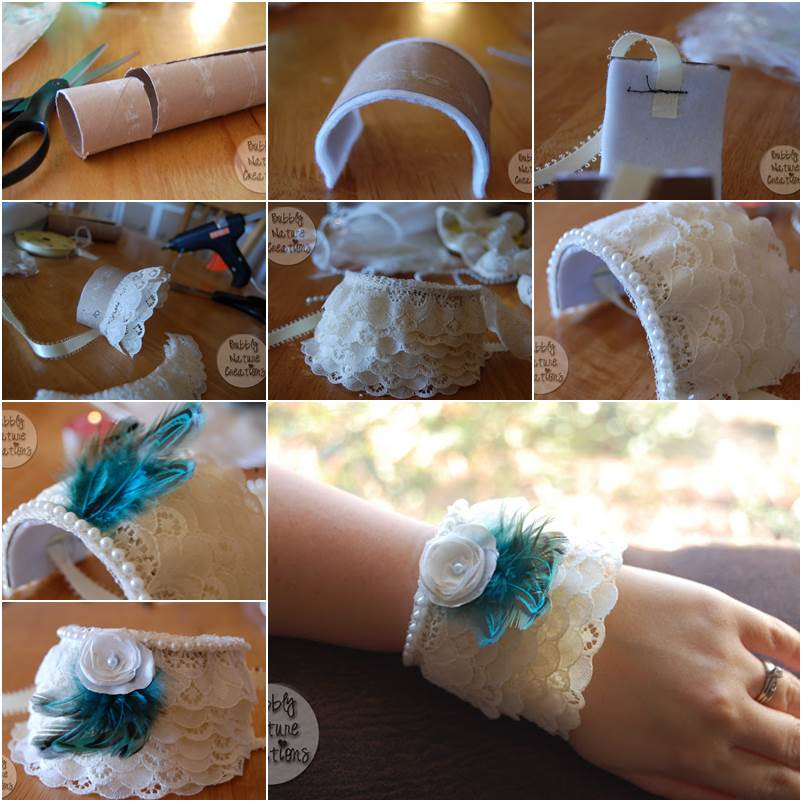 How to DIY Lace Cuff Bracelet from Toilet Paper Roll Wonderful DIY Lace Cuff Bracelet from  Paper Roll