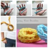 Wonderful DIY Finger Knitted Bracelet From Jersey T-shirt