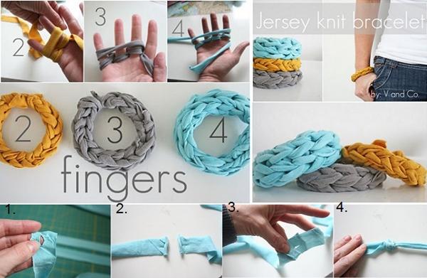 Jersey Finger Knitted Bracelets1 Wonderful DIY Finger Knitted Bracelet From Jersey T shirt