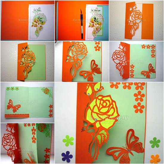 Kirigami  Greeting Card with Rose and Butterfly