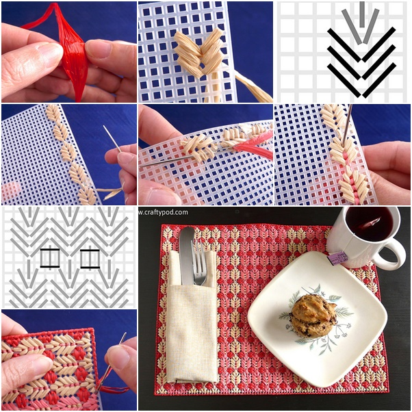Leaf Stitch Straw Placemats F  Wonderful DIY Leaf Stitch  Straw Placemats
