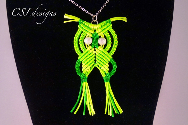 Macrame owl green1 Wonderful DIY Cute Macrame Owls