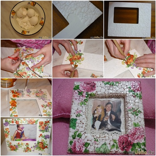 Mosaic Photo Frame From   Egg Shell F
