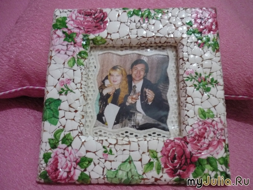 Mosaic Photo Frame From   Egg Shell10