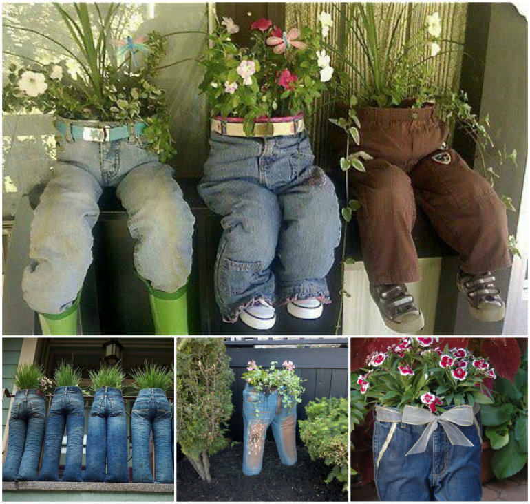 Old Jeans Planters Recycling Jeans Into Cute and Quirky Planters