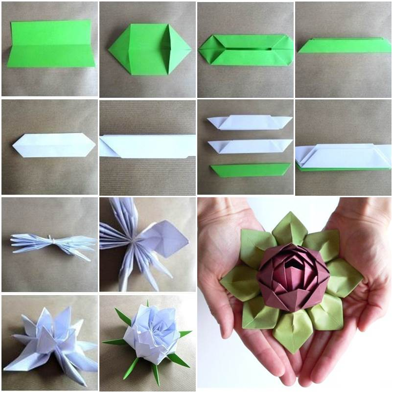 Incredible origami lotus flower instructions video for How to make a lotus with paper