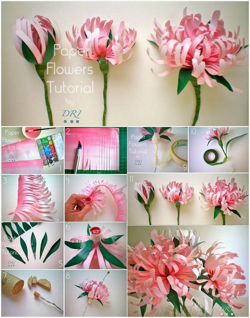 Pretty diy paper flowers to make for home for Flower making at home