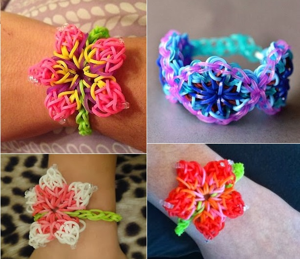 Rainbow Loom Hibiscus Flower Bracelet  Wonderful DIY Rainbow Loom Hibiscus Flower Bracelet