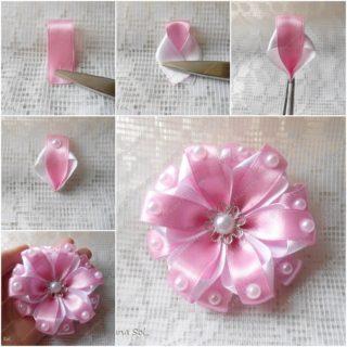 Wonderful DIY Pretty Ribbon flower with pearls