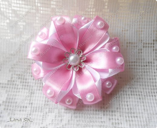 Ribbon Flower01 Wonderful DIY Pretty Ribbon flower with pearls
