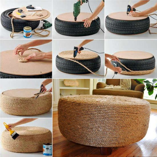 Tyre Ottoman wonderfuldiy Wonderful DIY Easy Ottoman from Plastic Bottles