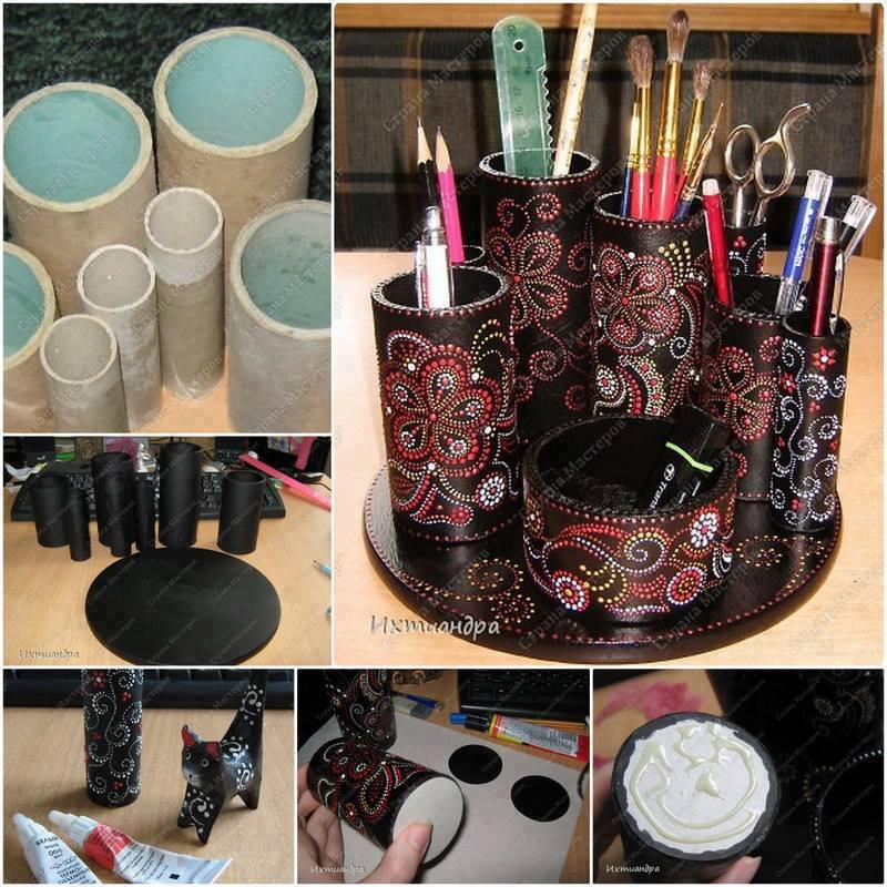 cardboard stationary organiser featured Wonderful DIY  Recycled Stationary Organizer