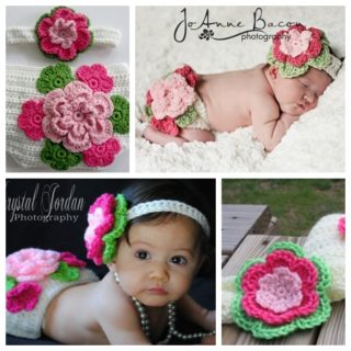 Wonderful DIY Crochet Diaper Cover and Flower Headband Set