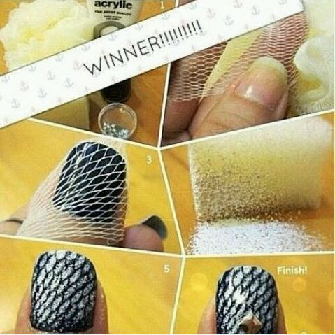 fishnet nail art  Wonderful DIY Glamorous Fishnet Nails  At Home
