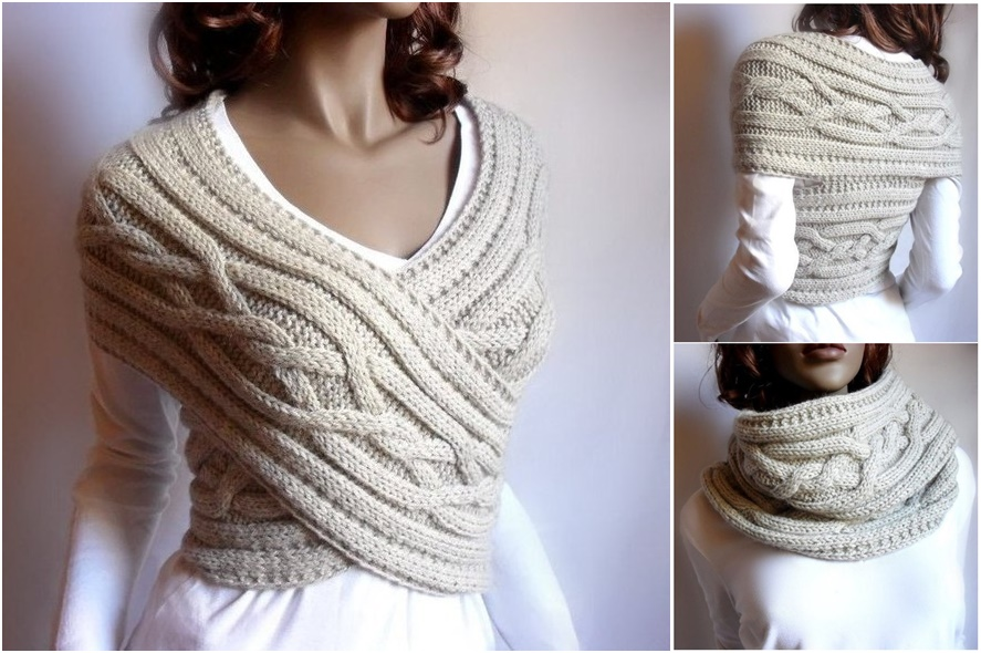 Knitted Womens Sweater Cowl Vest Pattern Video Tutorial