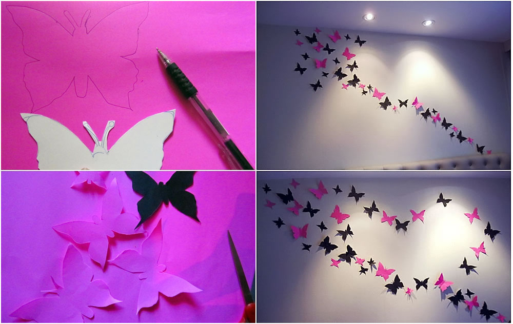 paper butterflies wall art