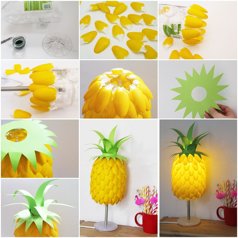 pineapple lamp from plastic spoons Simple DIY Pineapple Lampshade Made From Spoons