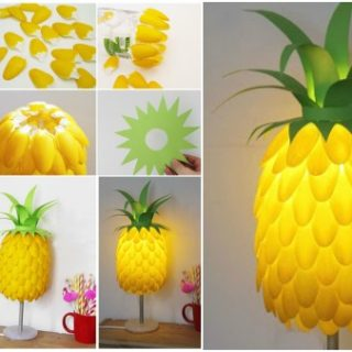 Simple DIY Pineapple Lampshade Made From Spoons