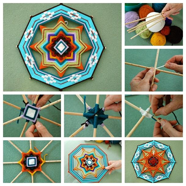 weaving 8 sides madala brooch F