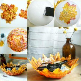 Wonderful DIY  Autumn Leaf  Bowl Using Balloon