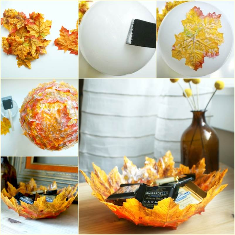wonderful diy autumn leaf bowl using balloon. Black Bedroom Furniture Sets. Home Design Ideas
