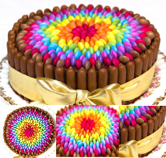 Chocolate-Rainbow-Smarties-Cake diy F
