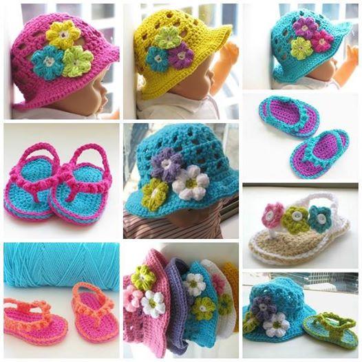 Crochet Baby flip flops and Hats Wonderful DIY Crochet Flip Flops and Hat Set