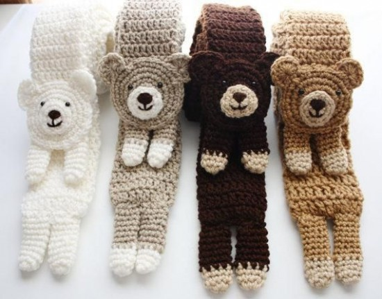 Crochet-Bear-animal Scarf- wonderfuldiy