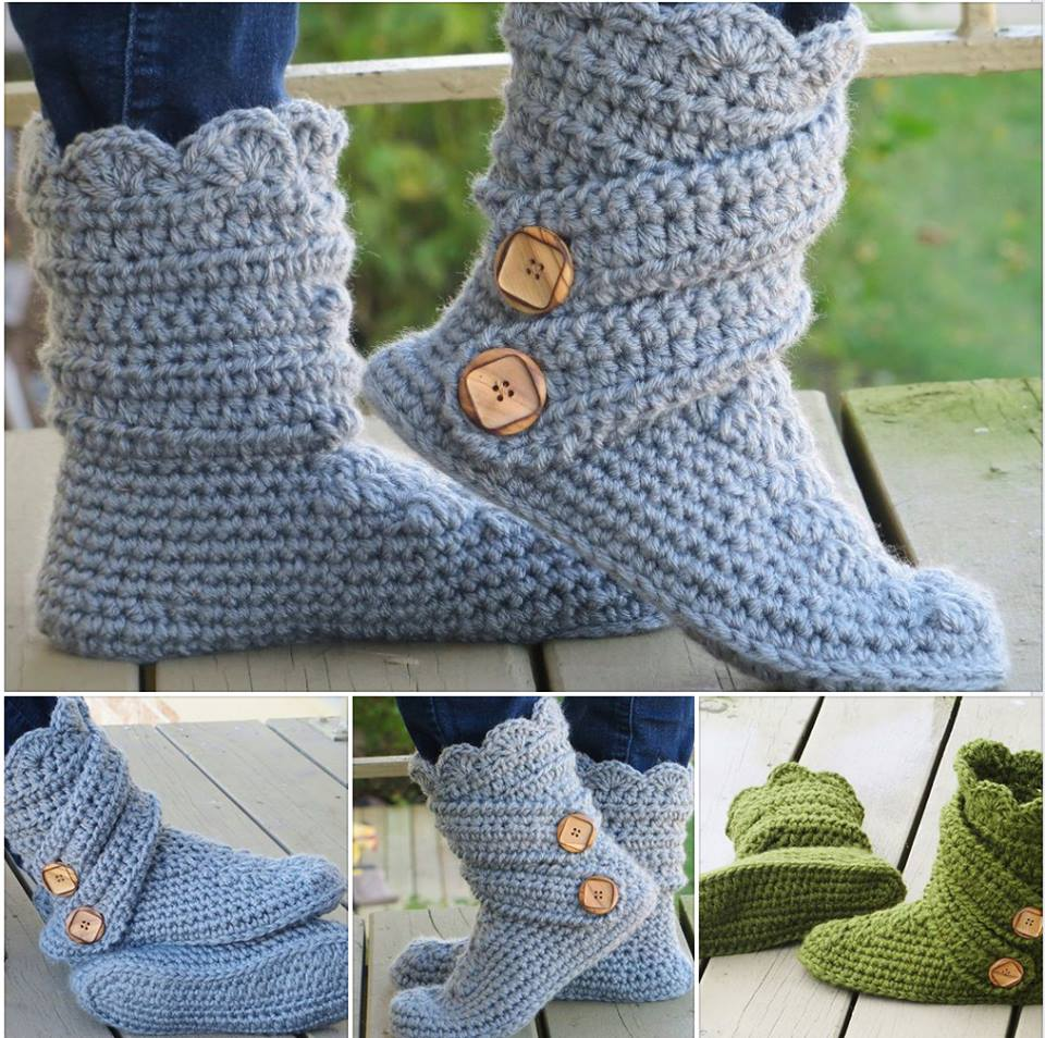 6435bc113e2 VIEW IN GALLERY Crochet Boots DIY Fancy Crochet Slipper Boots Free Pattern  and Tutorial