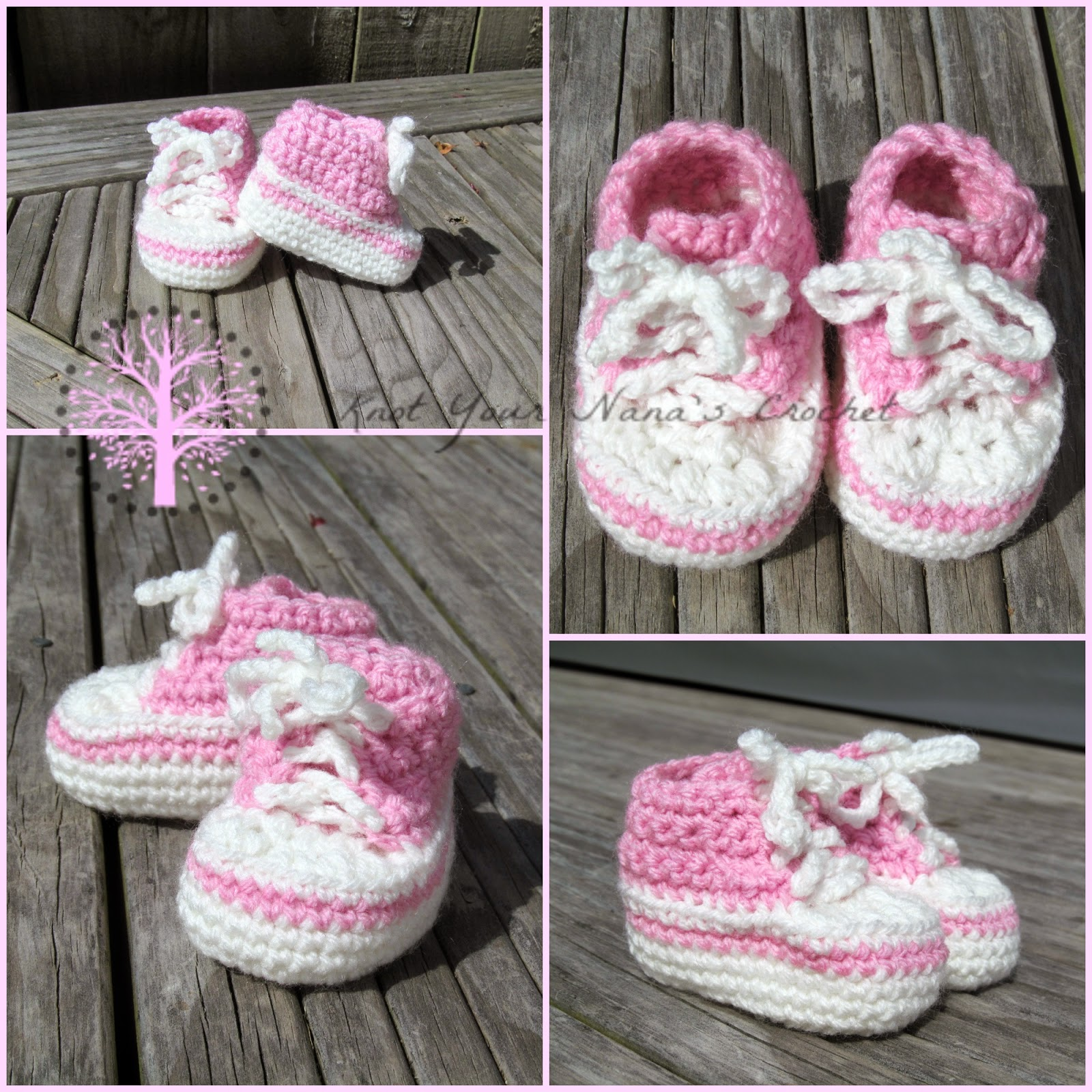 Crochet Converse Newborn High Tops -wonderfuldiy1
