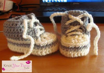 Crochet Converse Newborn High Tops -wonderfuldiy2