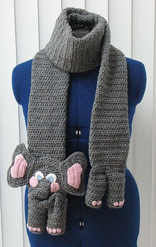 Crochet-Elephant-animal Scarf -wonderfuldiy