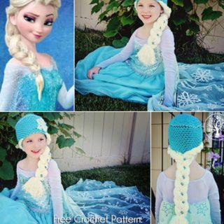 Wonderful DIY Crochet Snow Queen Hat with Elsa's Braid Free Pattern