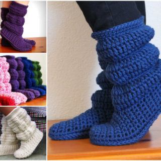 2cca61462c42a Free Knitted & Crochet Slipper Boots Patterns