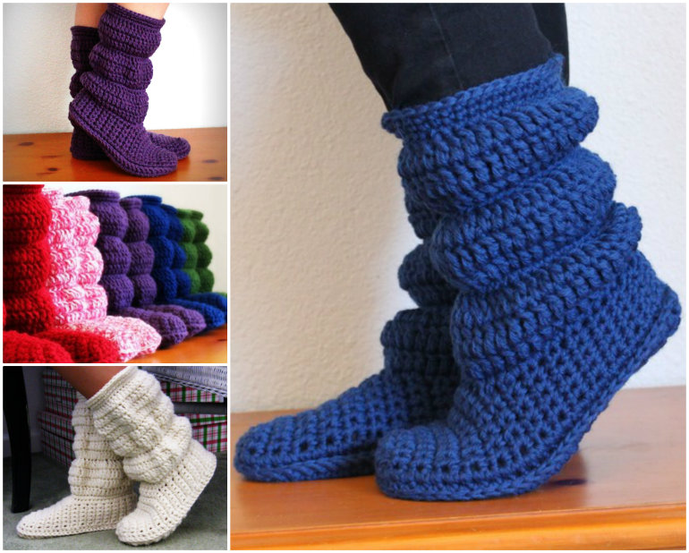 Free Knitted Crochet Slipper Boots Patterns