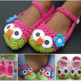 Wonderful DIY Cute Crochet Owl  Slippers