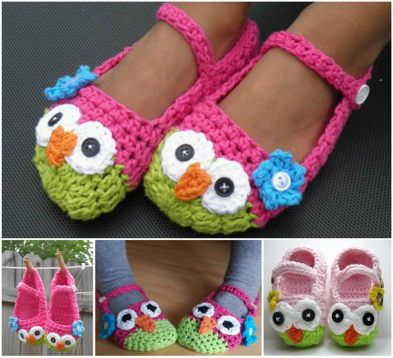 Crochet Mary Jane Owl Slippers DIY F Wonderful DIY Cute Crochet Owl  Slippers