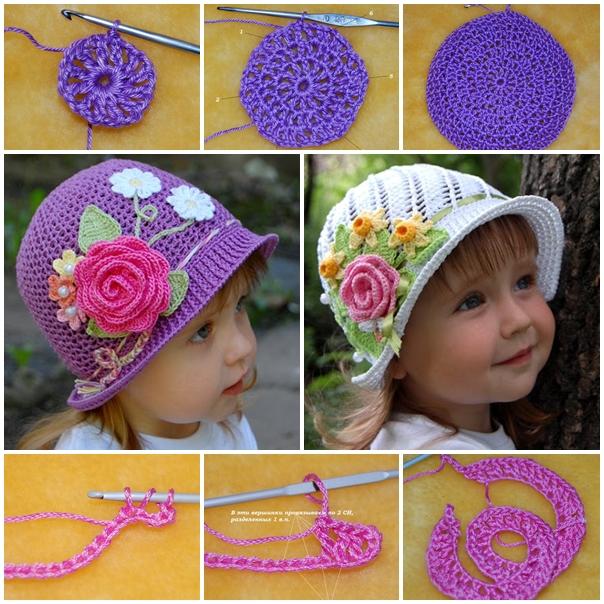 Crochet-Panama-Hats-for girls DIY F