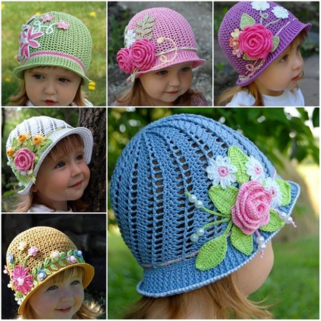 Crochet-Panama-Hats-for girls DIY