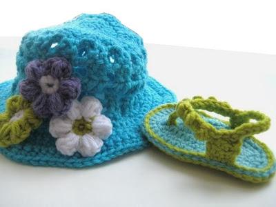 Crochet Pattern Sun Hat and Flip Flops