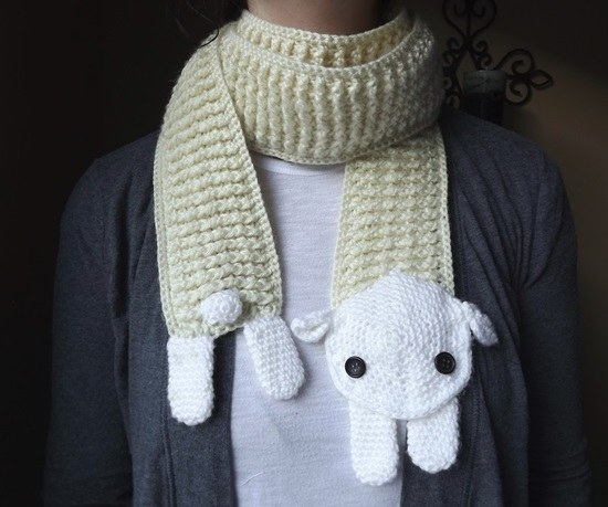 Crochet-Sheep-animal Scarf-wonderfuldiy